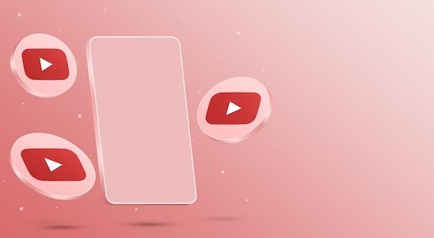 휴대 전화 3d 렌더링 유튜브 아이콘