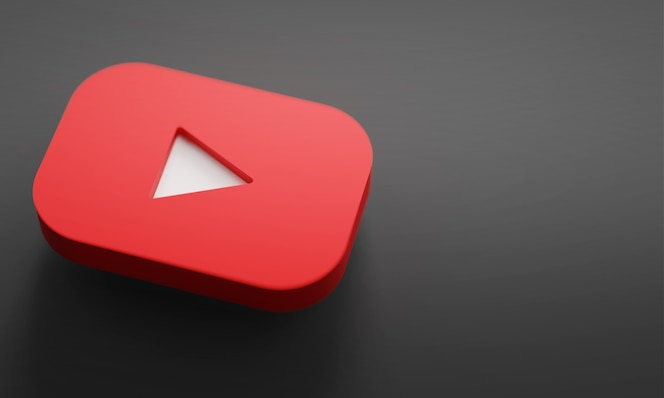 Youtube logo 3d rendering close up. youtube channel promotion template.