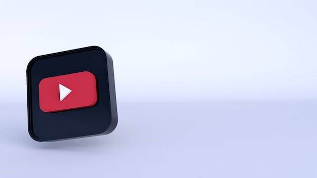 Youtube 로고 3d 렌더링을 닫습니다. youtube 채널 프로모션 템플릿입니다.