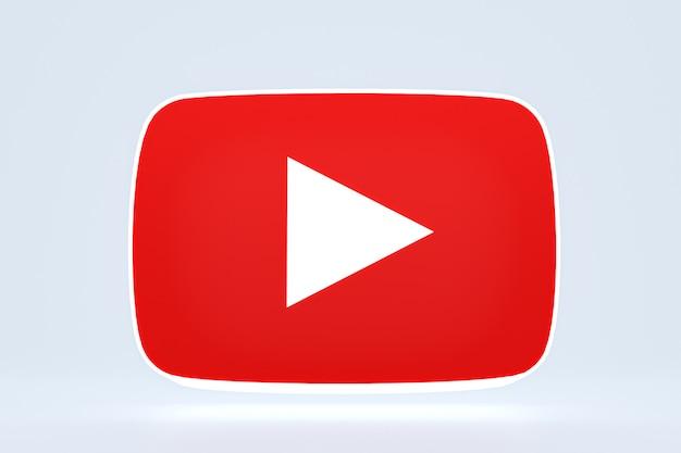 Youtube 로고 및 비디오 플레이어 3d 디자인 또는 비디오 미디어 플레이어 인터페이스
