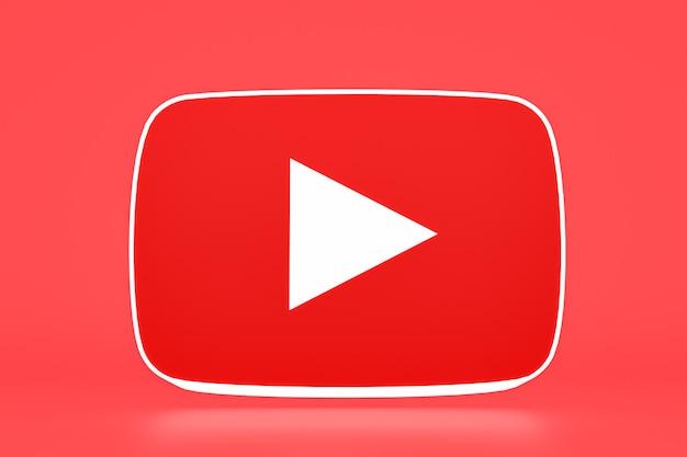 Логотип youtube и 3d-дизайн видеоплеера или интерфейс видеоплеера