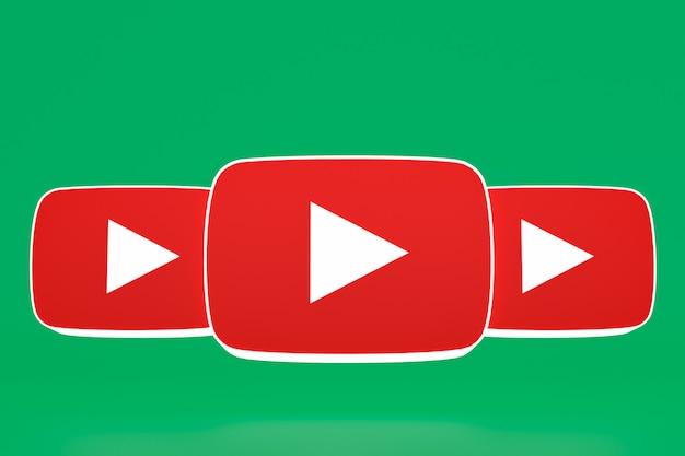 Youtubeロゴとビデオプレーヤーのデザインまたはビデオメディアプレーヤーのインターフェース