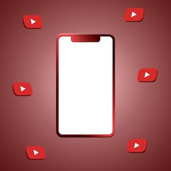 전화 화면 3d 렌더링 주위에 youtube 로고