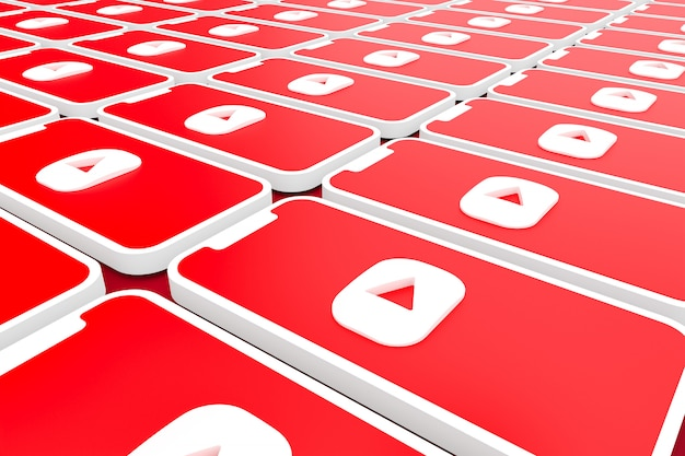 Youtubeのロゴの背景画面のスマートフォンやモバイルの3 dレンダリング