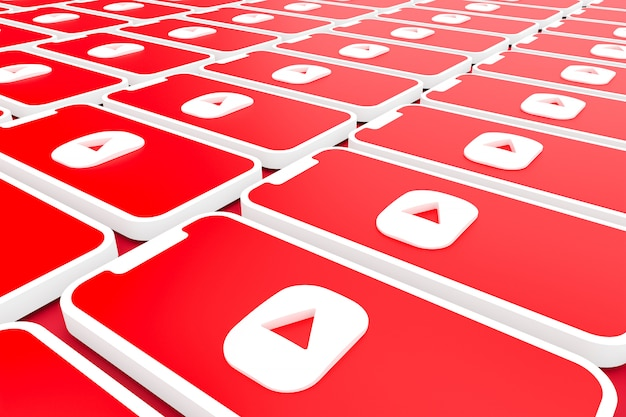 Youtube logo background on screen smartphone or mobile 3d render