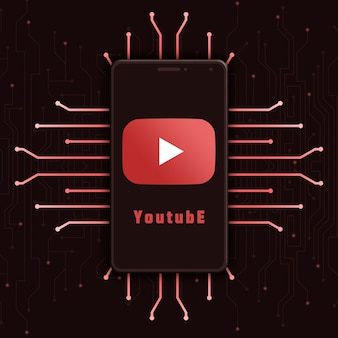 기술 배경 3d에 전화 화면에 youtube 로고 아이콘