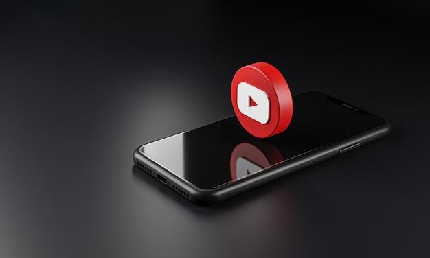 스마트 폰 위의 youtube 로고 아이콘, 3d 렌더링