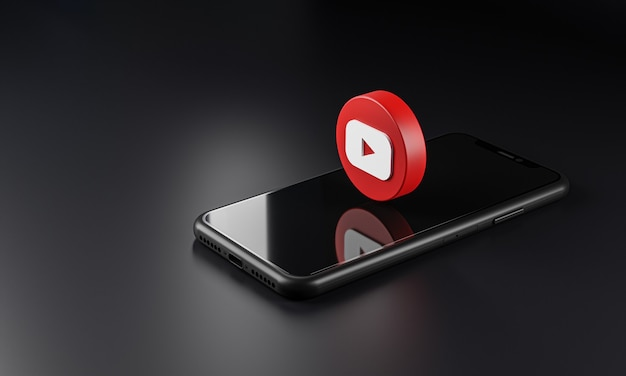 Youtube logo icon over smartphone, 3d rendering