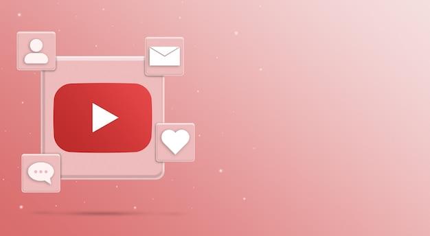 Значок логотипа youtube с деятельностью в социальных сетях 3 рендера