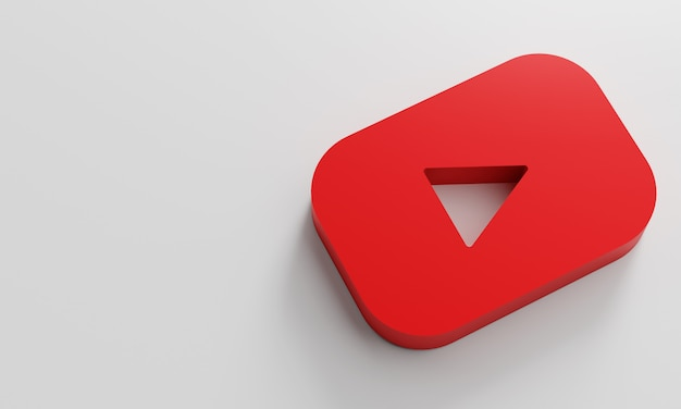 Youtube logo minimal simple design template. copy space 3d