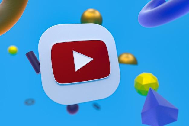 Логотип youtube на фоне абстрактной геометрии