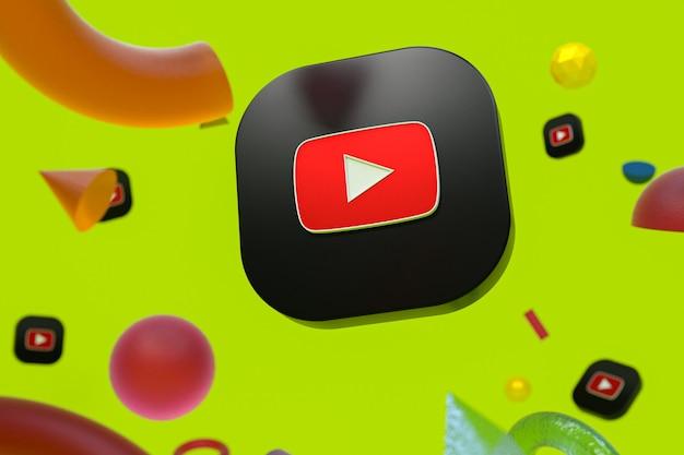 추상적 인 기하학 배경에 유튜브 로고