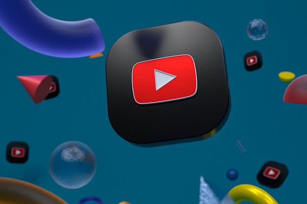 Логотип youtube на фоне абстрактной геометрии Premium Фотографии