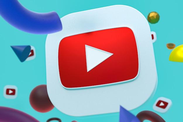 Логотип youtube на абстрактной геометрии Premium Фотографии