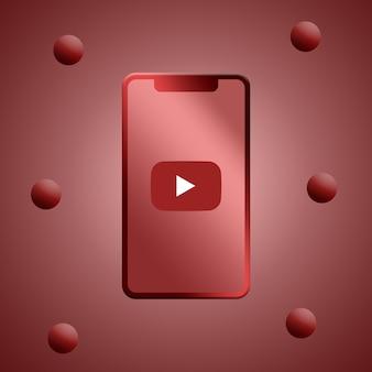 電話スクリーンの3dレンダリングのyoutubeロゴ