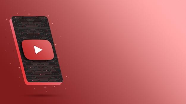 Логотип youtube на технологическом дисплее телефона 3d визуализации