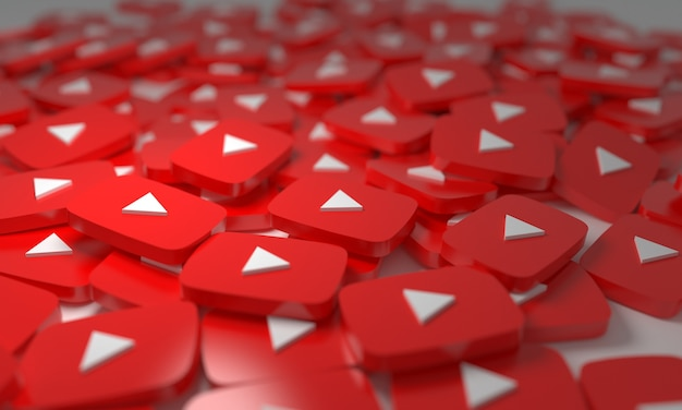 Youtube stacked 3d isometric logos background  social network media symbol