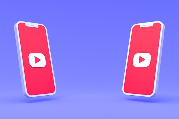Youtube symbol on smartphones screens