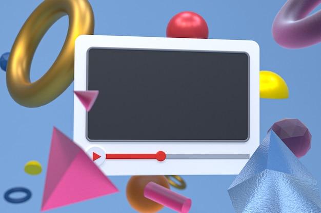 추상적 인 기하학 배경의 youtube 비디오 플레이어 3d 디자인 또는 비디오 미디어 플레이어 인터페이스