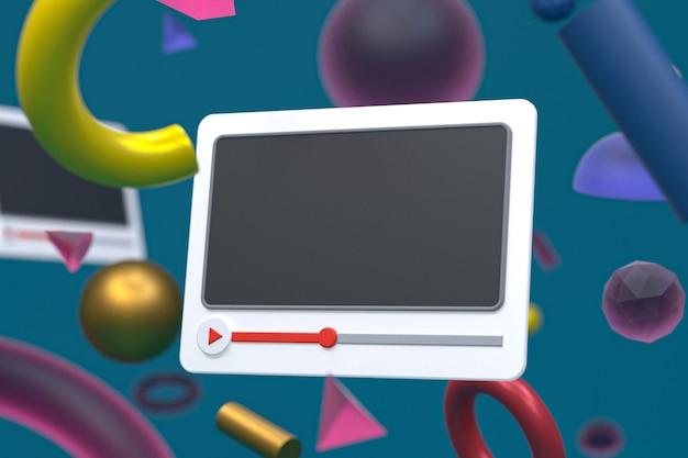 Youtube видеоплеер 3d дизайн или интерфейс видеоплеера на фоне абстрактной геометрии