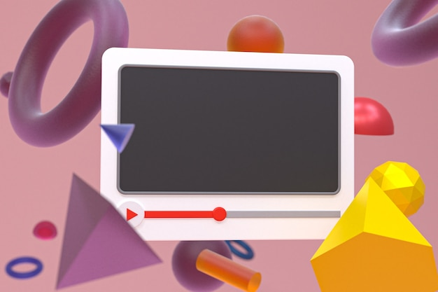 추상 기하학에 youtube 비디오 플레이어 3d 디자인 또는 비디오 미디어 플레이어 인터페이스