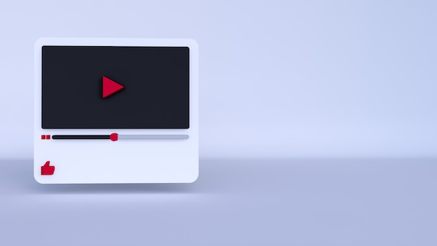 Youtubeビデオプレーヤーの3dデザインまたはビデオメディアプレーヤーのインターフェイス