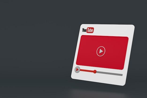 Youtubeビデオプレーヤーの3dデザインまたはビデオメディアプレーヤーのインターフェース