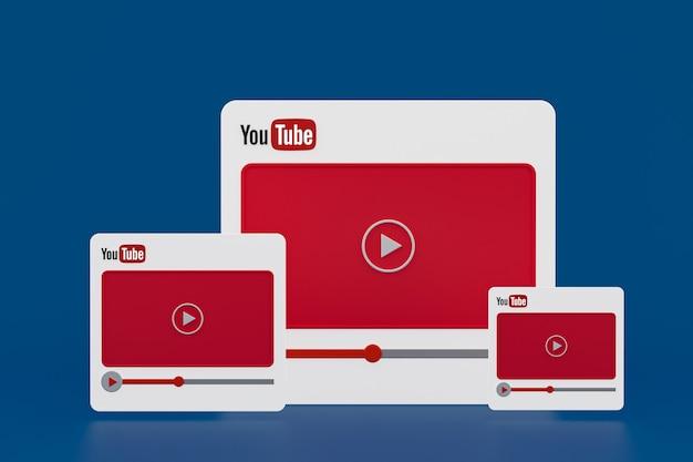 Youtube 비디오 플레이어 3d 디자인 또는 비디오 미디어 플레이어 인터페이스