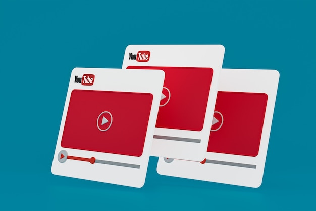 Youtube видеоплеер 3d дизайн или интерфейс видеоплеера