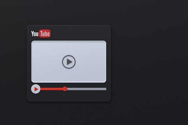 Youtube video player 3d screen design or video media player interface
