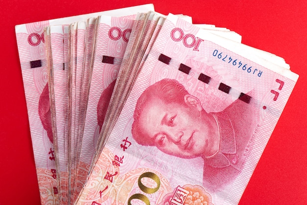 Yuan chinese money rmb on red