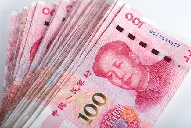 Yuan chinese money rmb on white