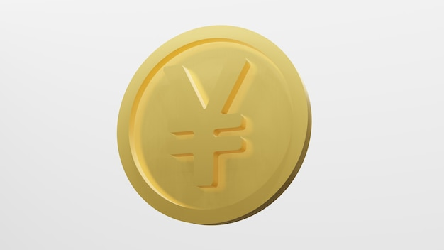Yuan currency gold coin , 3d rendering
