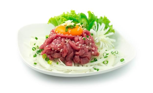 Yuk hoe korean raw beef tartar with sesame oilsoy sauce