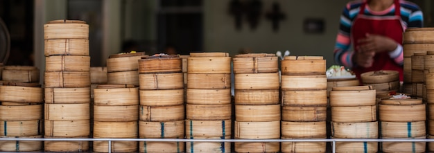 Yumcha、竹蒸しの点心、中華料理