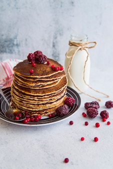 Yummy pancakes with berries