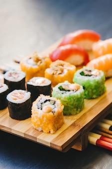 Yummy rolls over chopsticks