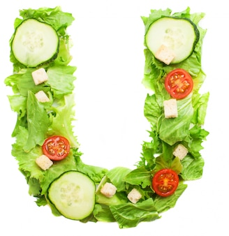 Yummy salad with the letter u