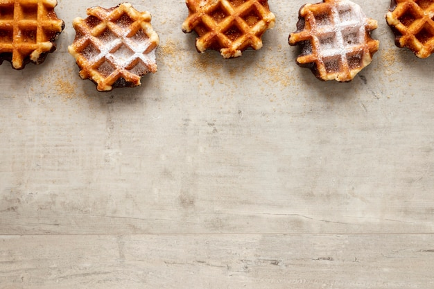 Yummy waffles frame with copy space