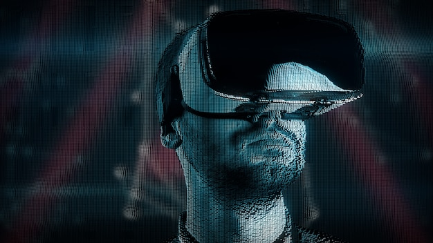 Yyoung man with digital disturbances in virtual reality glasses
