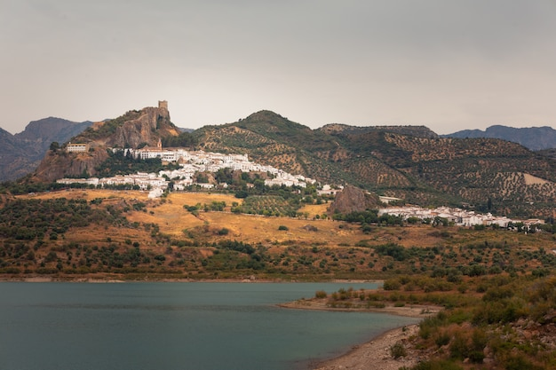 Zahara de la sierra, one of the famous white towns from cadiz region at andalucia, spain.