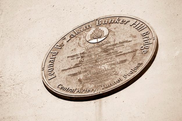 Zakim bunker hill bridge commerative plaque boston, massachusetts, usa