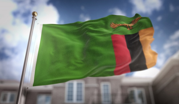 Zambia flag 3d rendering on blue sky building background