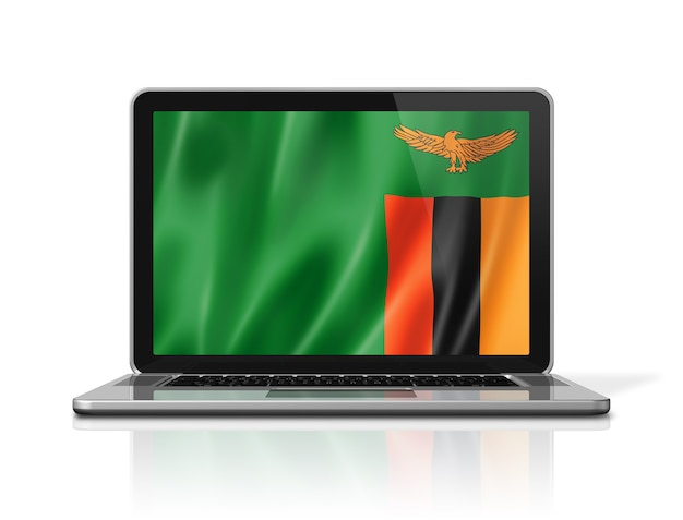 Zambia flag on laptop screen isolated on white. 3d illustration render.