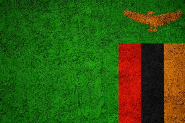 Zambia flag painted on grunge wall