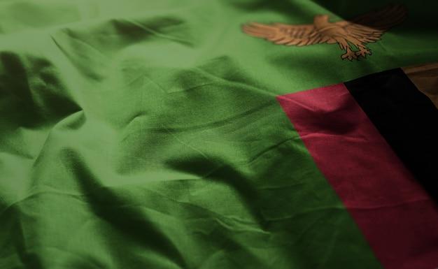 Zambia flag rumpled close up