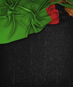 Zambia flag vintage on a grunge black chalkboard with space for text
