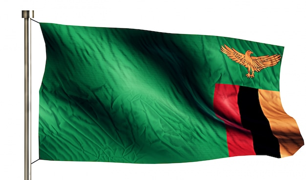 Zambia national flag isolated 3d white background