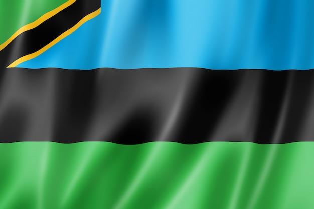 Zanzibar archipelago flag, tanzania waving banner collection. 3d illustration