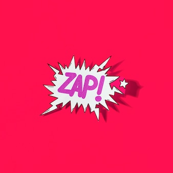 Zap! pop art cartoon comic explosion on red background